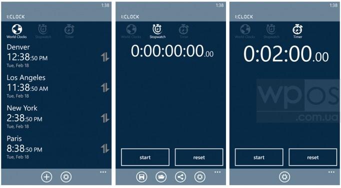 1:CLOCK Мировое время, Секундомер и Таймер