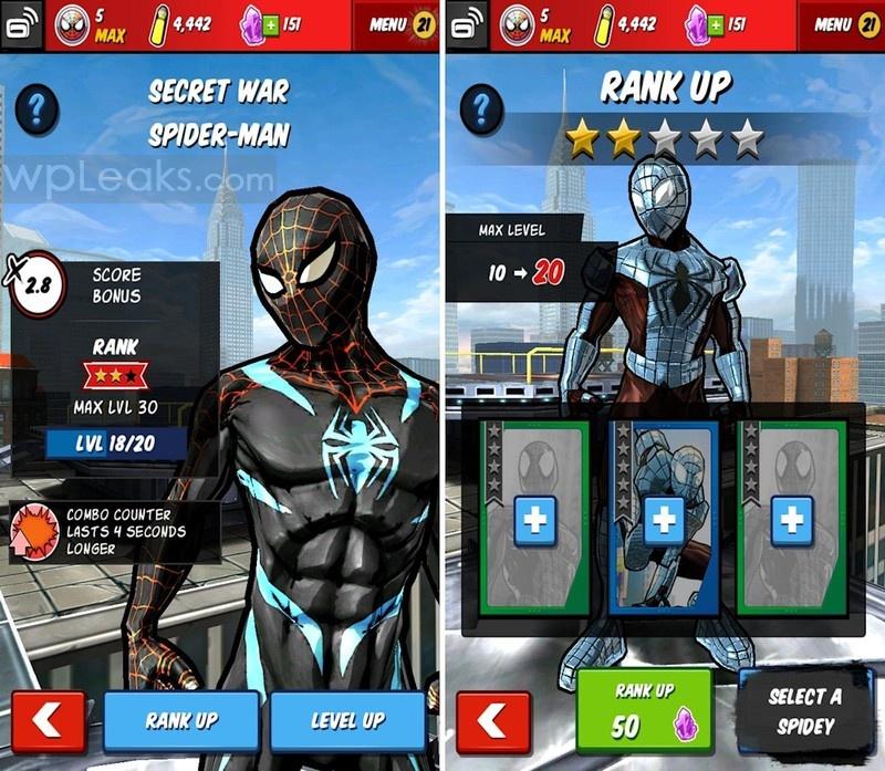 Spider-Man_Unlimited_Gameloft_Rank_up