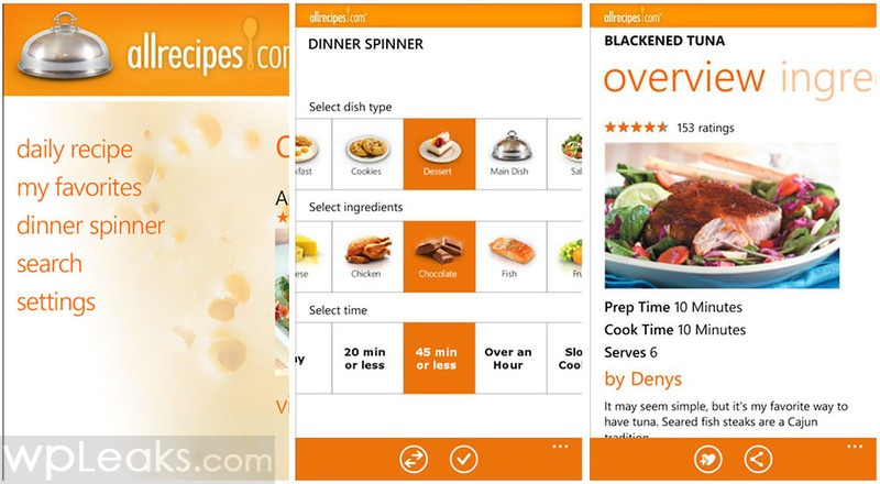 allrecipes windows phone