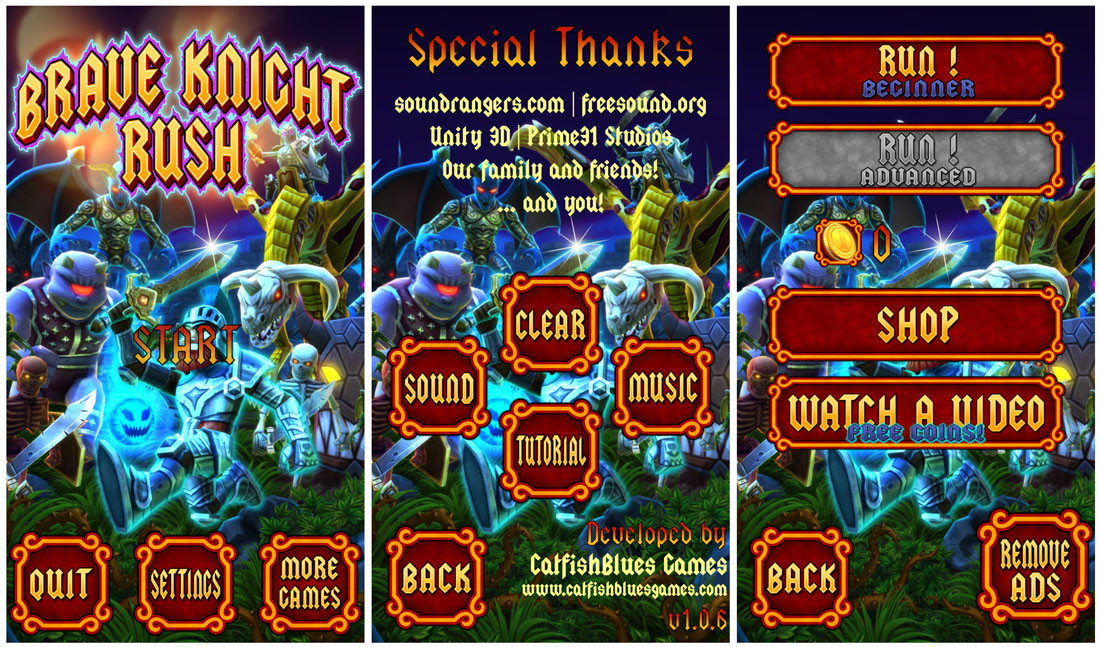 Brave_Knight_Rush_Menu