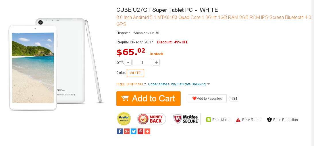 CUBE U27GT Super Tablet PC - WHITE 1