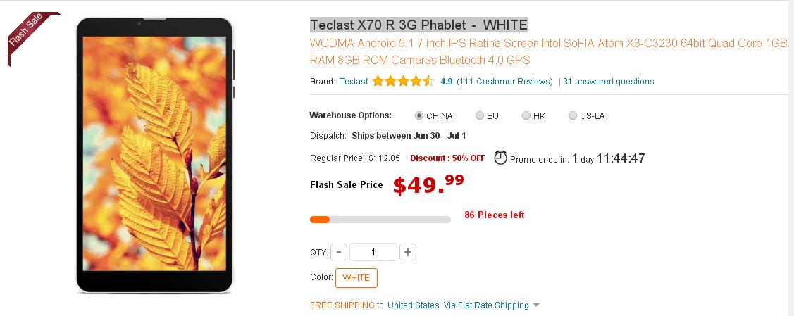 Teclast X70 R 3G Phablet - WHITE