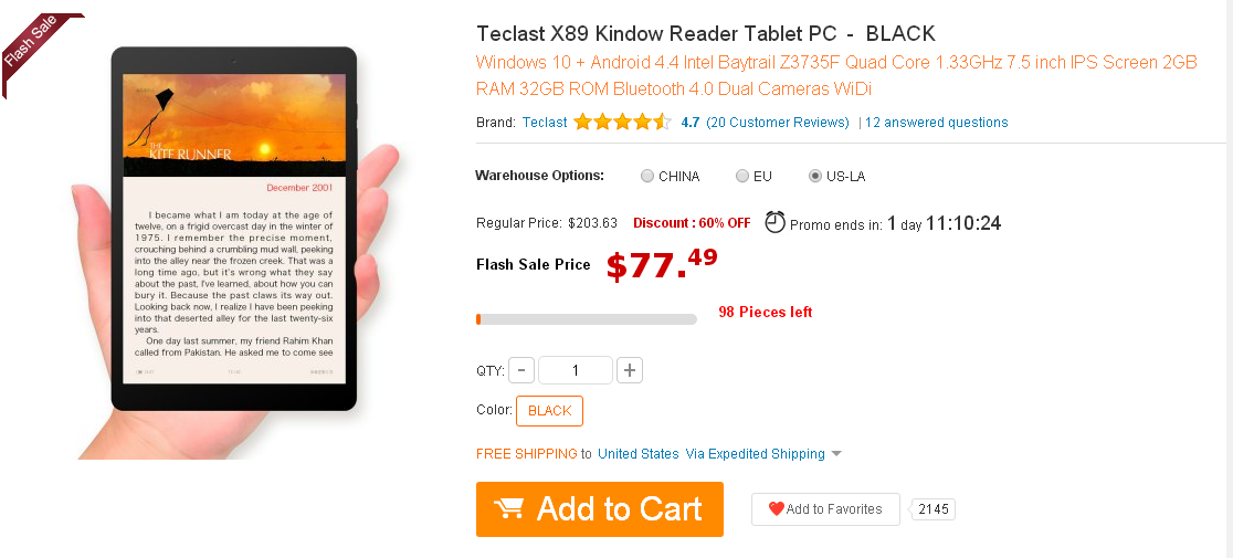 Teclast X89 Kindow Reader Tablet PC
