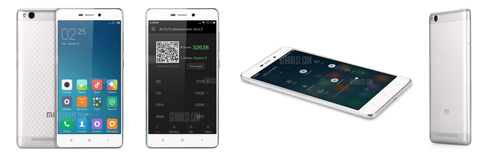 XiaoMi Redmi 3 16GB ROM 4G Smartphone - SILVER