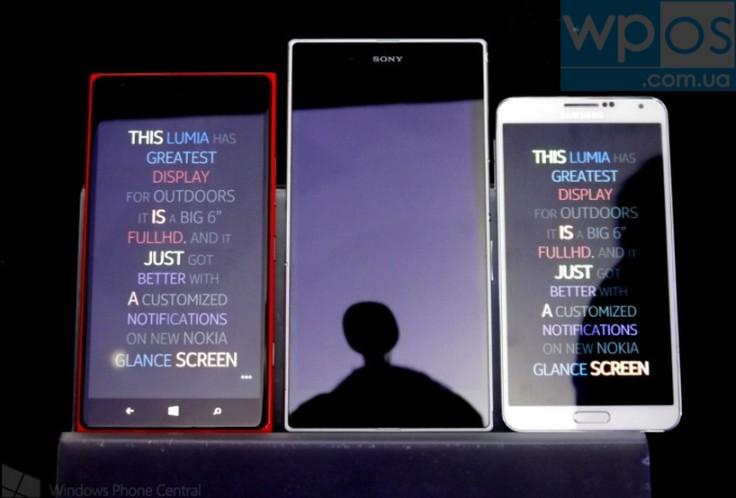 Nokia Lumia 1520, Sony Xperia Z, Samsung Galaxy Note 3