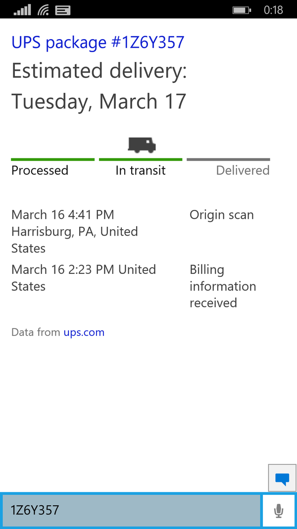 Cortana can track packages