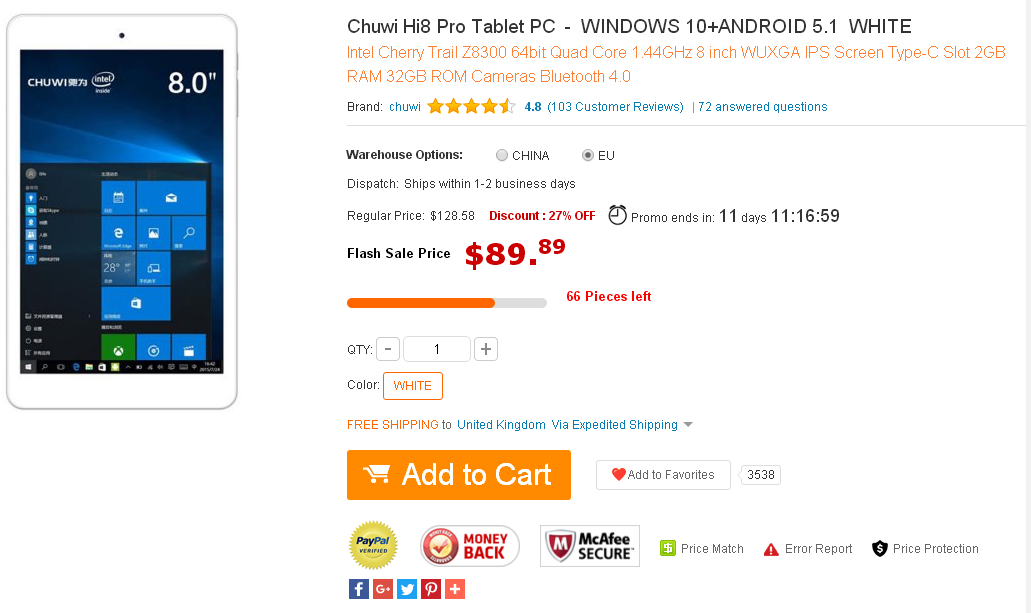 Chuwi Hi8 Pro Tablet PC - WINDOWS 10+ANDROID 5.1