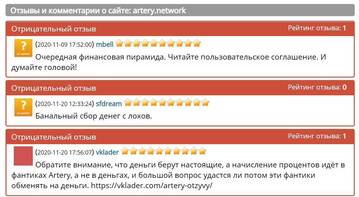 artery network платит или нет